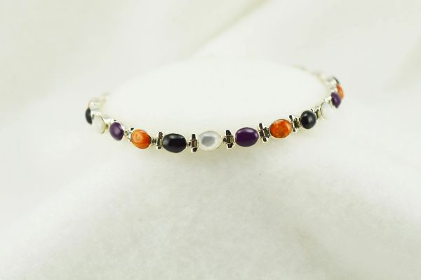 "Sterling silver multi color oval link 7.25"" bracelet. B127"