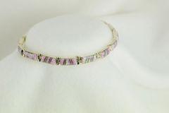 "Sterling silver pink opal inlay 8"" link bracelet. B021"