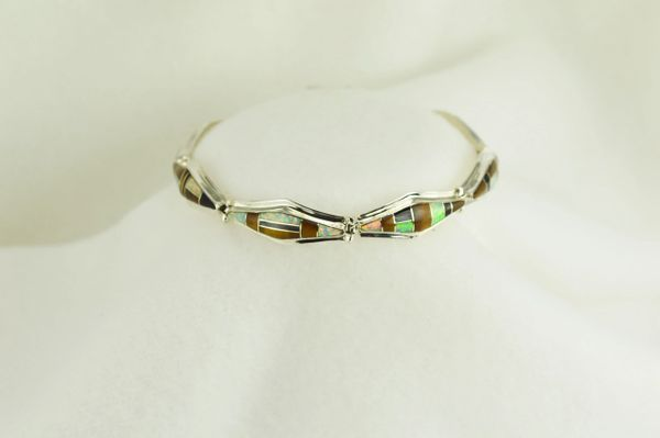"Sterling silver multi color opal, black onyx and tiger eye inlay 7.5"" bracelet. B033"