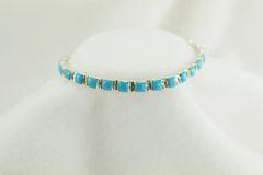 "Sterling silver turquoise square link 7.75"" bracelet. B037"