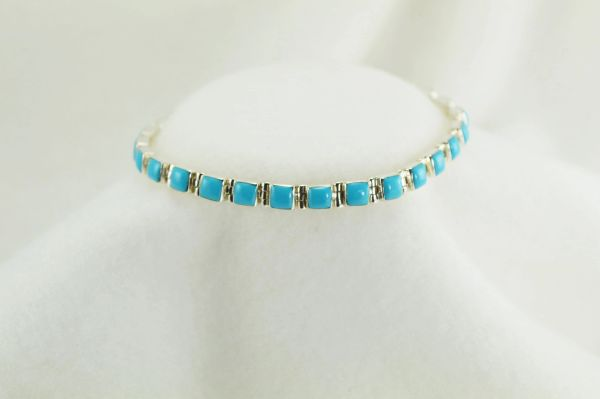 "Sterling silver turquoise square link 7.75"" bracelet. B037"