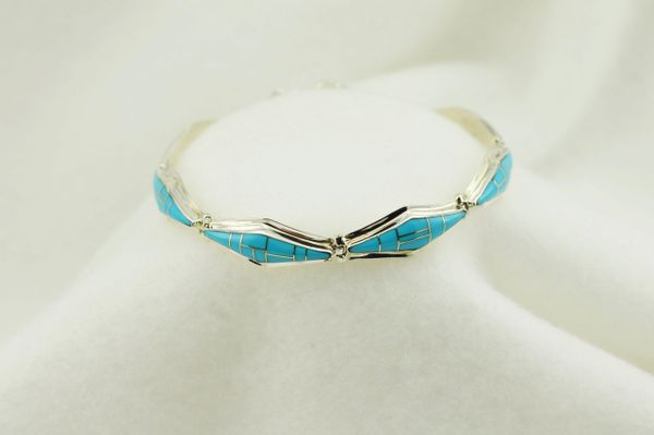 "Sterling silver turquoise diamond inlay link 7.25"" bracelet. B040"