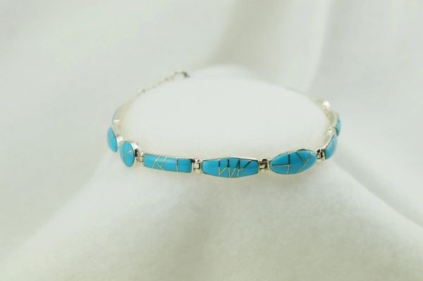 "Sterling silver turquoise inlay link 7.5"" bracelet. B042"