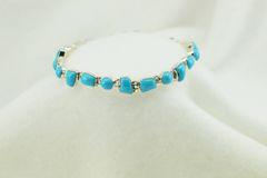 "Sterling silver turquoise multi shape link 7.25"" bracelet. B044"