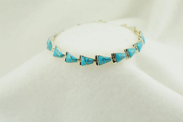 "Sterling silver turquoise inlay link 7.5"" bracelet. B045"