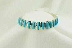 "Sterling silver turquoise link 8"" bracelet. B046"