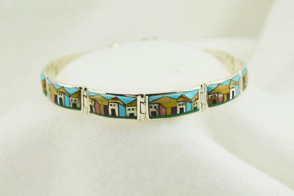 "Sterling silver adobe link 8"" bracelet. B047"