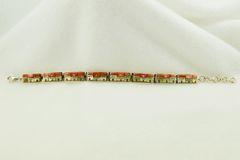 "Sterling silver adobe link 8"" bracelet. B050"