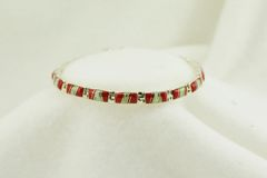 "Sterling silver coral and white opal inlay link 7.5"" bracelet. B052"