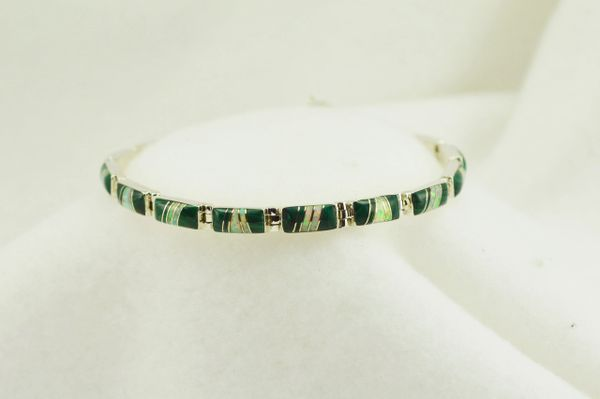 "Sterling silver malachite and white opal inlay link 7.5"" bracelet. B054"
