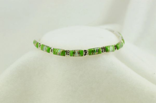 "Sterling silver gaspeite and white opal inlay link 7.5"" bracelet. B055"