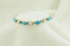 "Sterling silver howlite and blue opal link 7.25"" bracelet. B057"