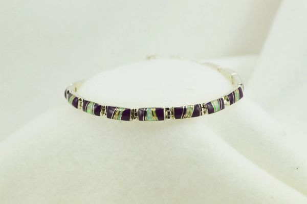 "Sterling silver sugilite and white opal inlay link 7.5"" bracelet. B058"