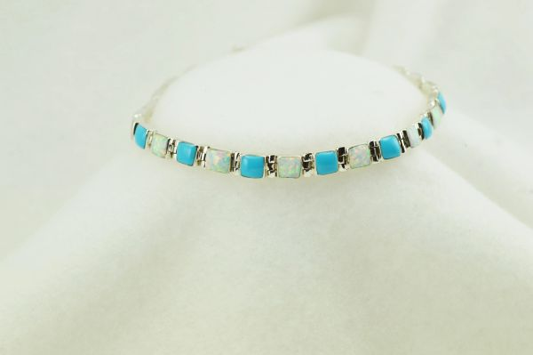 "Sterling silver turquoise and white opal square link 7.75"" bracelet. B059"
