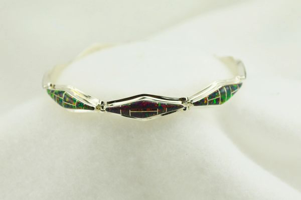 "Sterling silver black opal inlay 7.5"" link bracelet. B062"