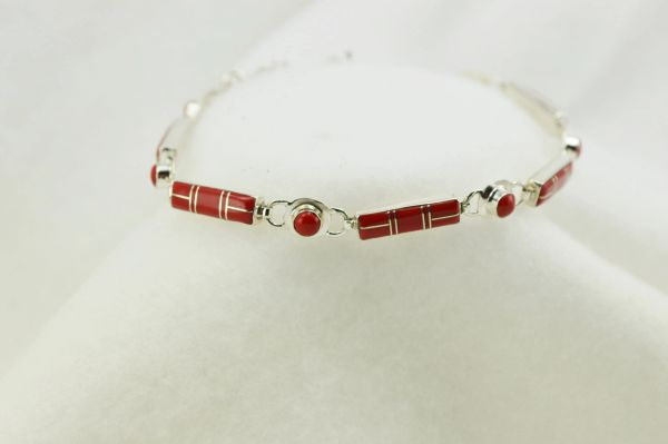 "Sterling silver coral inlay link 8"" bracelet. B068"