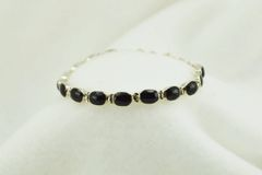 "Sterling silver black onyx link 7.5"" bracelet. B071"