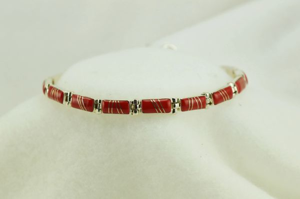 "Sterling silver coral inlay link 8"" bracelet. B073"