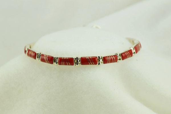 "Sterling silver coral inlay link 8"" bracelet. B073"