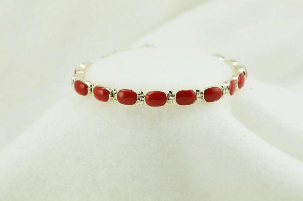 """Sterling silver coral oval link 7.5"""" bracelet. B074"""