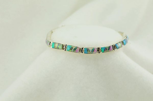 "Sterling silver white, pink and blue opal inlay link 7.75"" bracelet. B075"