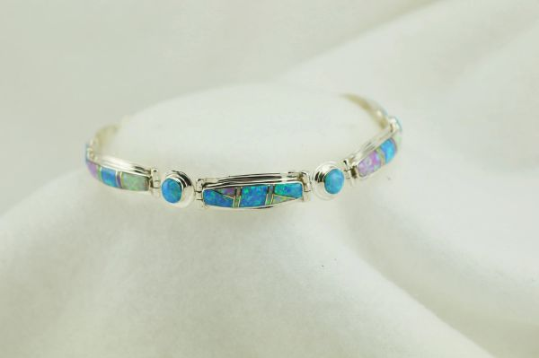 "Sterling silver white, pink and blue opal inlay link 8.25"" bracelet. B077"