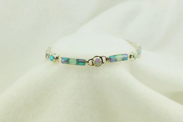 "Sterling silver white, pink and blue opal inlay link 8"" bracelet. B080"