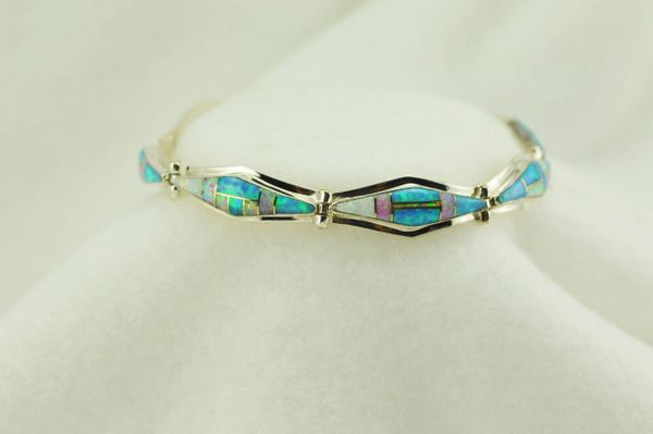 "Sterling silver white, pink and blue opal inlay link 7.5"" bracelet. B082"