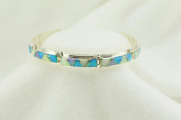 "Sterling silver white, pink and blue opal inlay link 8"" bracelet. B083"