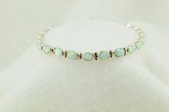 "Sterling silver white opal oval link 7.25"" bracelet. B087"