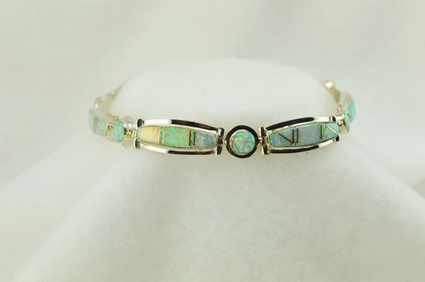 "Sterling silver white opal inlay link 8.25"" bracelet. B090"