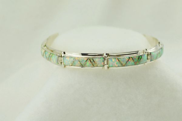 "Sterling silver white opal inlay link 8"" bracelet. B093"