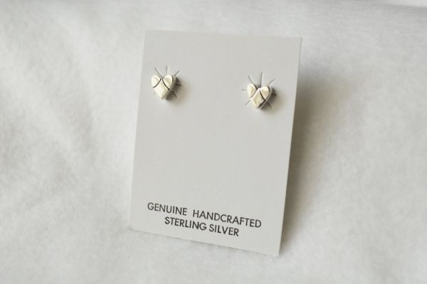 Sterling silver heart post earrings (E006)