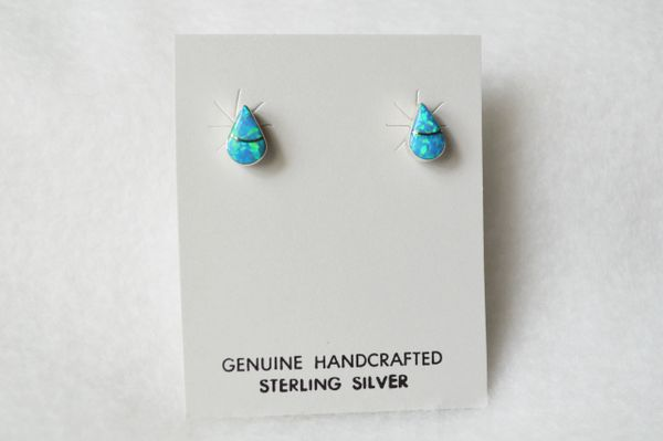 Sterling silver blue opal inlay teardrop post earrings (E009)
