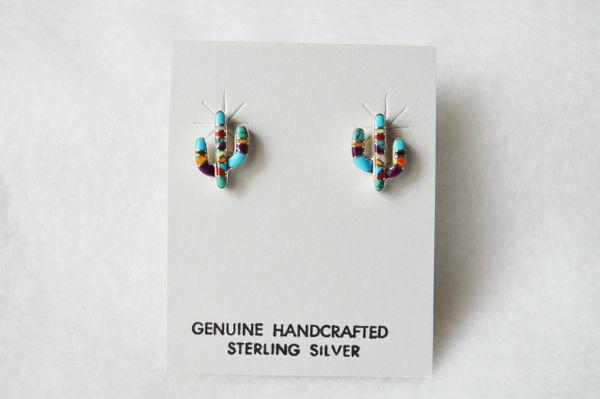 Sterling silver multi color cactus post earrings (E014)