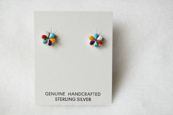 Sterling silver multi color flower post earring (E015)