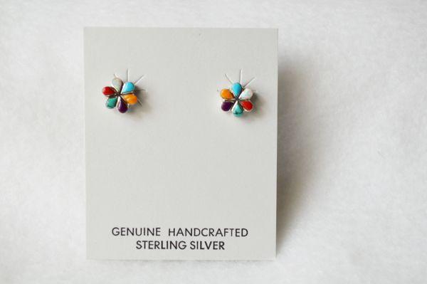 Sterling silver multi color flower post earring (E015)