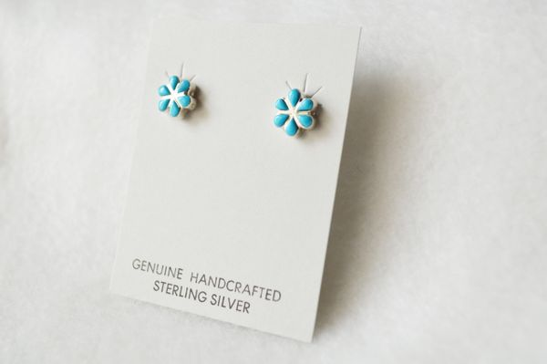 Sterling silver turquoise flower post earring (E016)