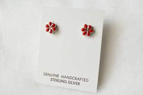 Sterling silver coral flower post earrings. (E018)