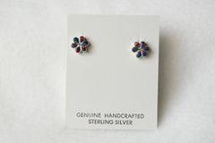 Sterling silver black opal flower post earrings (E023)