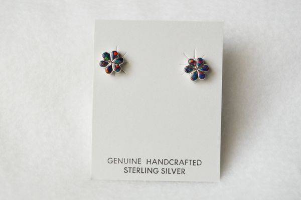 Sterling silver black opal flower post earrings (E023)