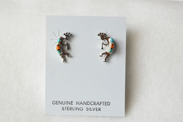 Sterling silver inlay multi colored kokopelli post earrings. (E024)