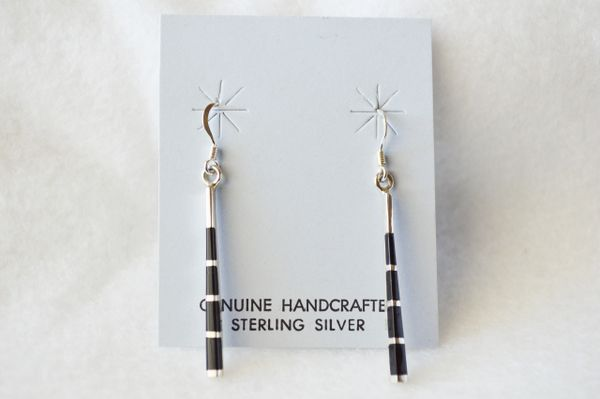 Sterling silver and black onyx stick dangle earrings. (E041)
