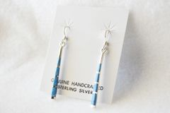 Sterling silver and denim lapis stick dangle earrings. (E042)