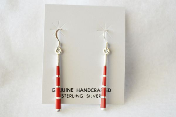 Sterling silver and coral stick dangle earrings. (E044)