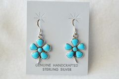 Sterling silver turquoise pedal flower dangle earrings. (E046)