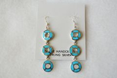 Sterling silver turquoise triple rounds dangle earrings. (E049)