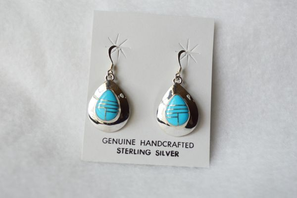 Sterling silver turquoise inlay teardrop dangle earrings. (E054)