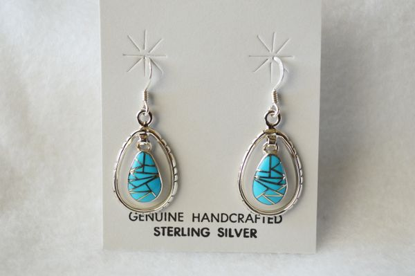 Sterling silverturquoise inlay egg in hoop dangle earring. (E058)