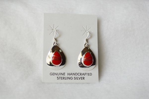Sterling silver coral inlay teardrop earrings. (E062)